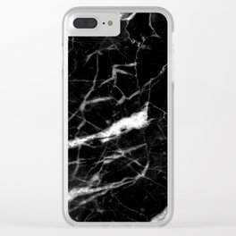 Rich black marble Clear iPhone Case