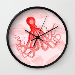 Octopus SeaShells Salmon Color Design Wall Clock