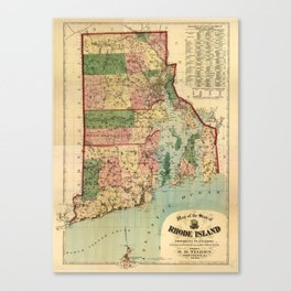 Map of Rhode Island and Providence Plantations (1880) Canvas Print