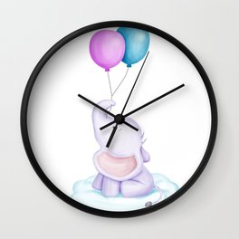 Baby Elephant and Two Ballon Wall Clock