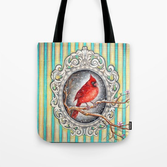 RED CARDINAL in FRAME Tote Bag