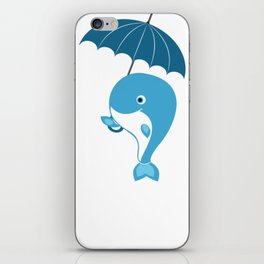 Whale Whale Holding an Umbrella iPhone Skin