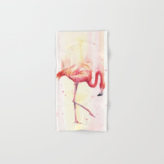 Pink Flamingo Rain | Facing Right Hand & Bath Towel
