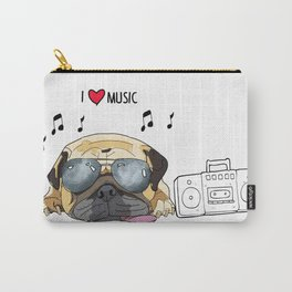 I love music-rock pug Carry-All Pouch