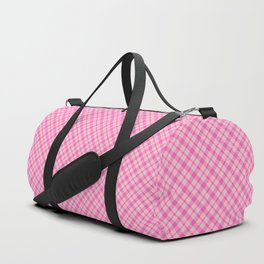 Pastel Pink Plaid Pattern Duffle Bag