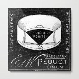 black and white vintage shirt collar retro laundry room Metal Print
