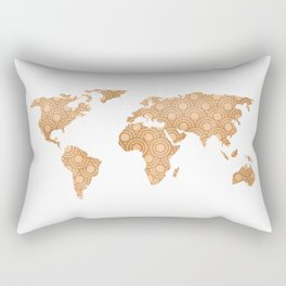 Copper Bronze Brass Foil World Map Design Rectangular Pillow