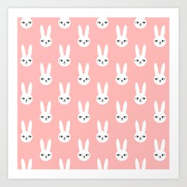 Bunny Rabbit pink and white spring cute character illustration nursery kids minimal floral crown Art Print