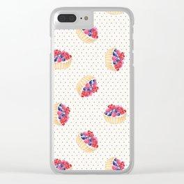 Vintage lavender pink ivory polka dots berries pie pattern Clear iPhone Case