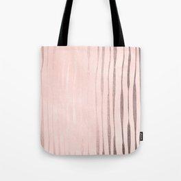 Rose Gold Pastel Pink Vertical Stripes Tote Bag