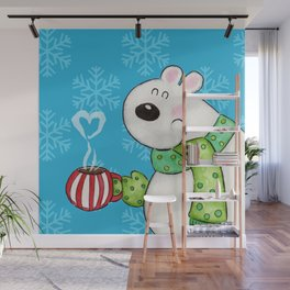 Hot Cocoa Polar Bear Wall Mural