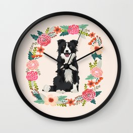 border collie black and white floral wreath dog gifts pet portraits Wall Clock