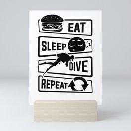 Eat Sleep Dive Repeat - Diving Reef Lake Diver Sea Mini Art Print
