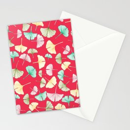 Gingko Leaves on Red Stationery Cards