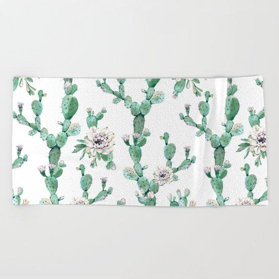 Cactus Rose Climb on White Beach Towel