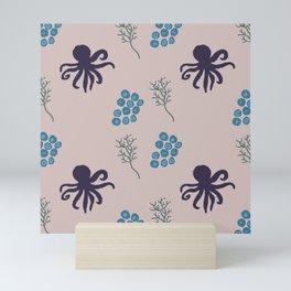 Purple Octopus in the Sea Mini Art Print