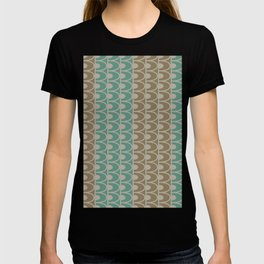 Mid Century Modern Retro Geometric Shapes Stripes Jade Green Tobacco Brown and Gray T-shirt