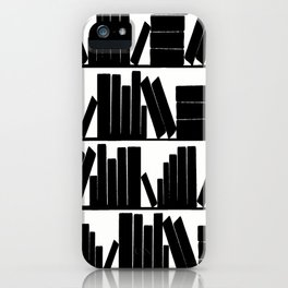 Library Book Shelves, black and white iPhone Case