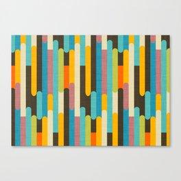Retro Color Block Popsicle Sticks Blue Canvas Print