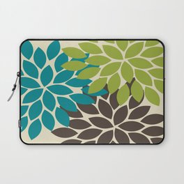 Bold Colorful Biege Brown Teal Green Dahlia Flower Burst Petals Laptop Sleeve