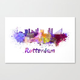 Rotterdam skyline in watercolor Canvas Print