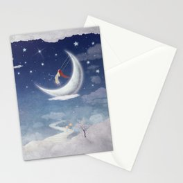 City of children on  fantastic clouds in the sky Stationery Cards