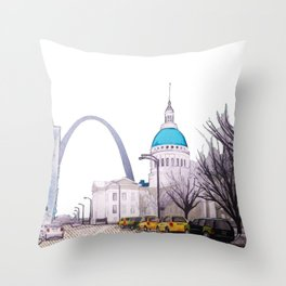 St. Louis Arch with cabs Throw Pillow