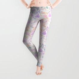 Modern lavender lilac pink watercolor floral Leggings