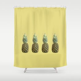 Four Juicy Pineapples Summer Fruits Series Shower Curtain