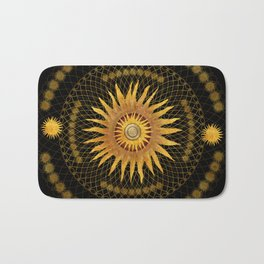 """Black & Gold Vault Mandala"" Bath Mat"
