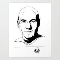 picard Art Prints featuring Jean-Luc Picard by Hippy Hoo Ha