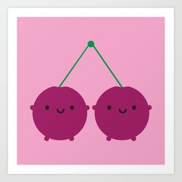 Kawaii Cherries Art Print