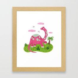 Pink diplodocus Framed Art Print