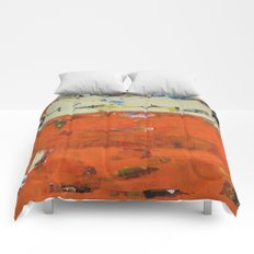 Roadrunner Bright Orange Abstract Colorful Art Painting Comforters