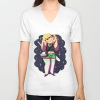 holographic V-neck T-shirts featuring The Alien Lady by Burgandy Balloons
