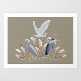 Great Blue Heron - Tan and Gray Art Print