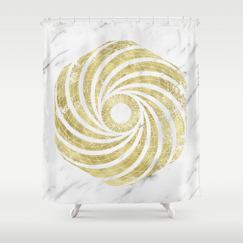 Luxury Marble Gold Hexagon Shower Curtain