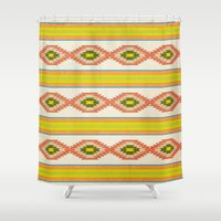 navajo Shower Curtains featuring Navajo Pattern by Nxolab