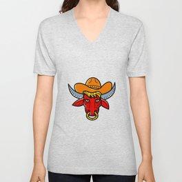 Bull Cowboy Hat Mono Line Art Unisex V-Neck