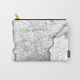 Vintage Map of Minnesota (1864) BW Carry-All Pouch