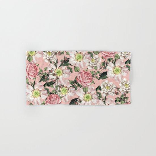 Vintage Rose Pattern Pink Hand & Bath Towel