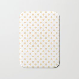 Small Polka Dots - Sunset Orange on White Bath Mat
