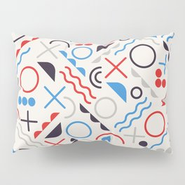 Seamless Jumble Shapes in Blue Red White Color Geometric Retro Pattern  Pillow Sham