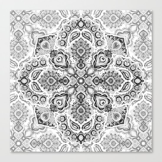 Pattern in Black & White Canvas Print