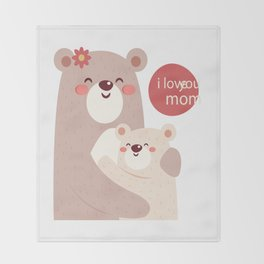 Mutual snatched bear mother and child Throw Blanket