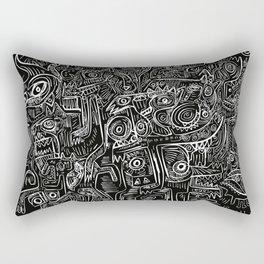 Street Graffiti Black and White Primitive Art Rectangular Pillow