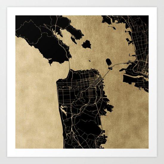 San Francisco California Black and Gold Map Art Print