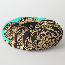 Gold Lace on Turquoise Floor Pillow