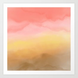 Boho pink brown ombre watercolor desert abstract paint Art Print