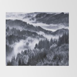 Misty Forest Mountains Throw Blanket